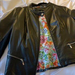 Black rivet faux leather jacket